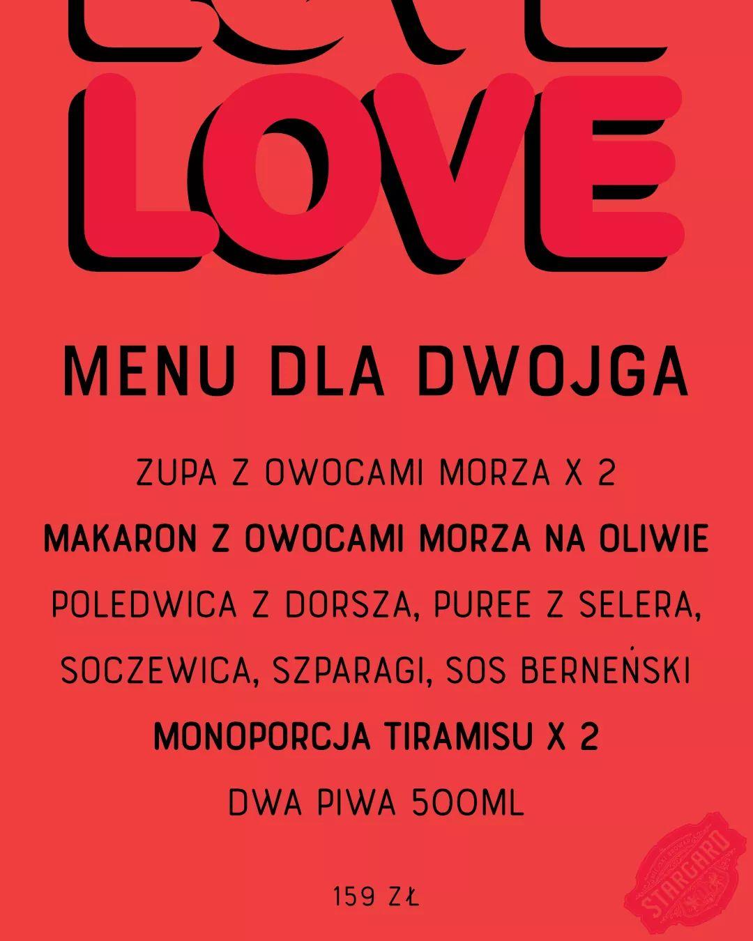Walentynkowe set menu